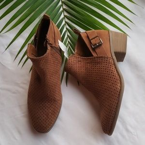 Universal Thread Shoes - Women's Laser Cut Buckle Bootie-cognac